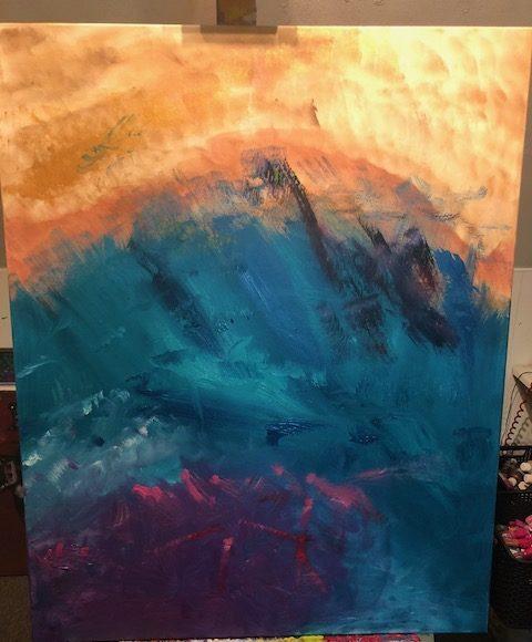 Aura schilderij blauw, paars en brons